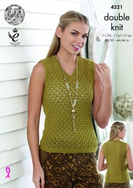 Round and V Neck Lace Tops in King Cole Smooth DK - 4521