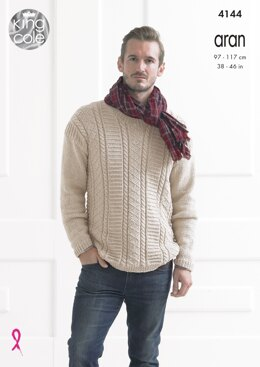 Textured Sweaters in King Cole Big Value Recycled Cotton Aran - 4144 - Downloadable PDF