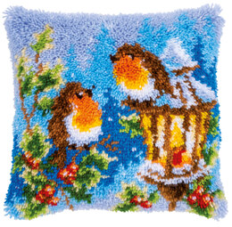 Vervaco Christmas Cushion Robins Latch Hook Kit