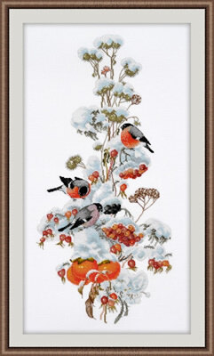 Oven Bullfinches in Winter Cross Stitch Kit