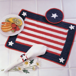 Americana Place Setting in Red Heart Eco-Cotton Blend Solids - LW2699 - Downloadable PDF