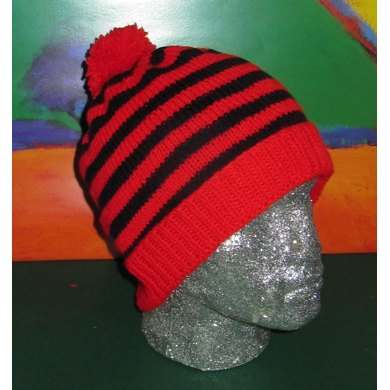 Simple Stripe Bobble Beanie Hat