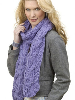Reversible Cable Rib Scarf in Caron Simply Soft - Downloadable PDF
