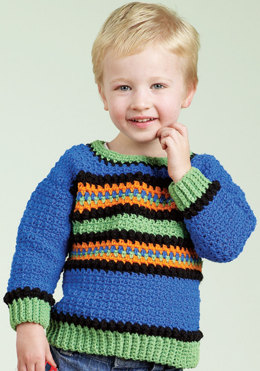 Crochet Kid's Striped Pullover in Red Heart Sport - LW1566 - Downloadable PDF