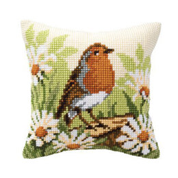 Vervaco Robin Redbreast Cushion Front Chunky Cross Stitch Kit - 40cm x 40cm