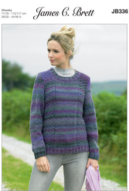 Ladies Sweater in James C. Brett Marble Chunky - JB336 - Leaflet