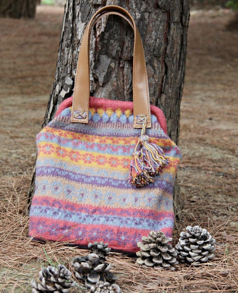 Large knitted felted colorful bag in Fair Isle pattern Knitting ...