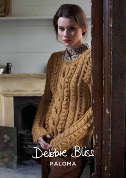 """Haley Jumper"" - Jumper Knitting Pattern For Women in Debbie Bliss Paloma - DBS010"