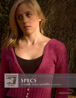 Specs V-Neck Mini-Sweater in Juniper Moon Farm Moonshine - Downloadable PDF