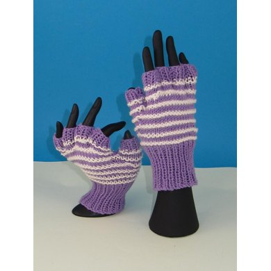 Stripe Pattern Short Finger Gloves