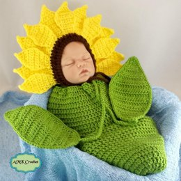 Newborn Sunflower Bonnet Hat and Cocoon