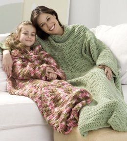 Crochet Snuggle Up Throw with Sleeves in Red Heart Super Saver Economy Solids - WR1838
