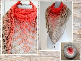 "Triangular shawl ""desert flower"""