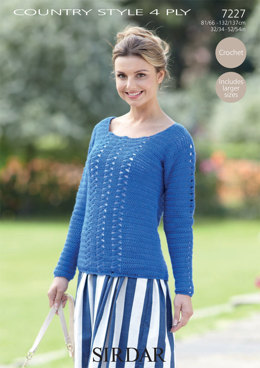 Cobalt Sweater in Sirdar Country Style 4 Ply - 7227 - Downloadable PDF