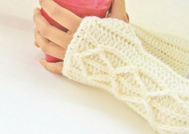 Adeline Fingerless Mittens with Faux Cables
