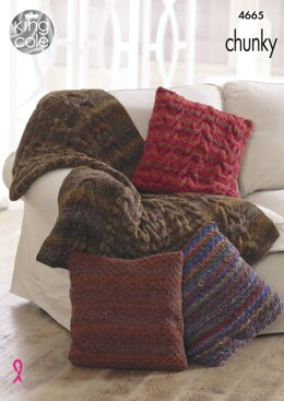 Throw & Cushion Covers in King Cole Chunky - 4665