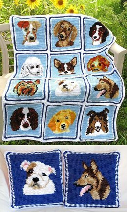Cuddly Canines Afghan & Pillows