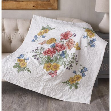 Bucilla Stamped Cross Stitch Lap Quilt Kit 45in x 45in - Flowers From The Garden