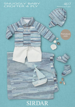 Coat, Helmet, Bootees and Blanket in Sirdar Snuggly Baby Crofter 4 Ply - 4617 - Downloadable PDF