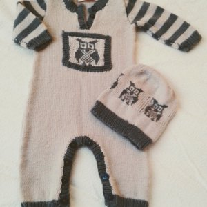 Lil Hoot Onesie Romper With Matching Hat P084 Knitting
