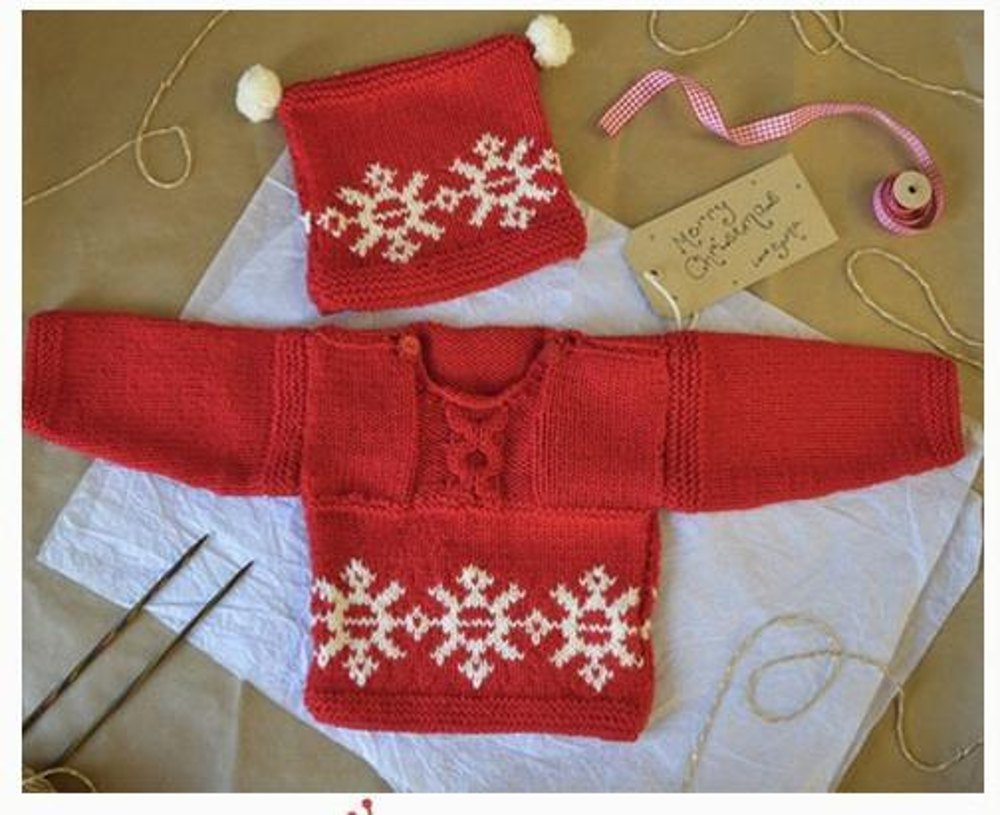 ccc7fee78 Love Knitting Christmas Jumper and hat For Babies   Toddlers ...