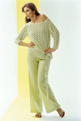Ladies' Sweater with Lace Pattern and Crochet Scarf in Schachenmayr Sun City - 6051 - Downloadable PDF