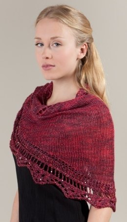 Red Lace Shawl in Artyarns Ensemble Light