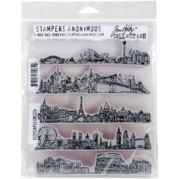 "Stampers Anonymous Tim Holtz Cling Stamps 7""X8.5"" - Cityscapes"