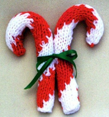 Giant Candy Cane Ornament Knitting Pattern By Frugal Knitting Haus