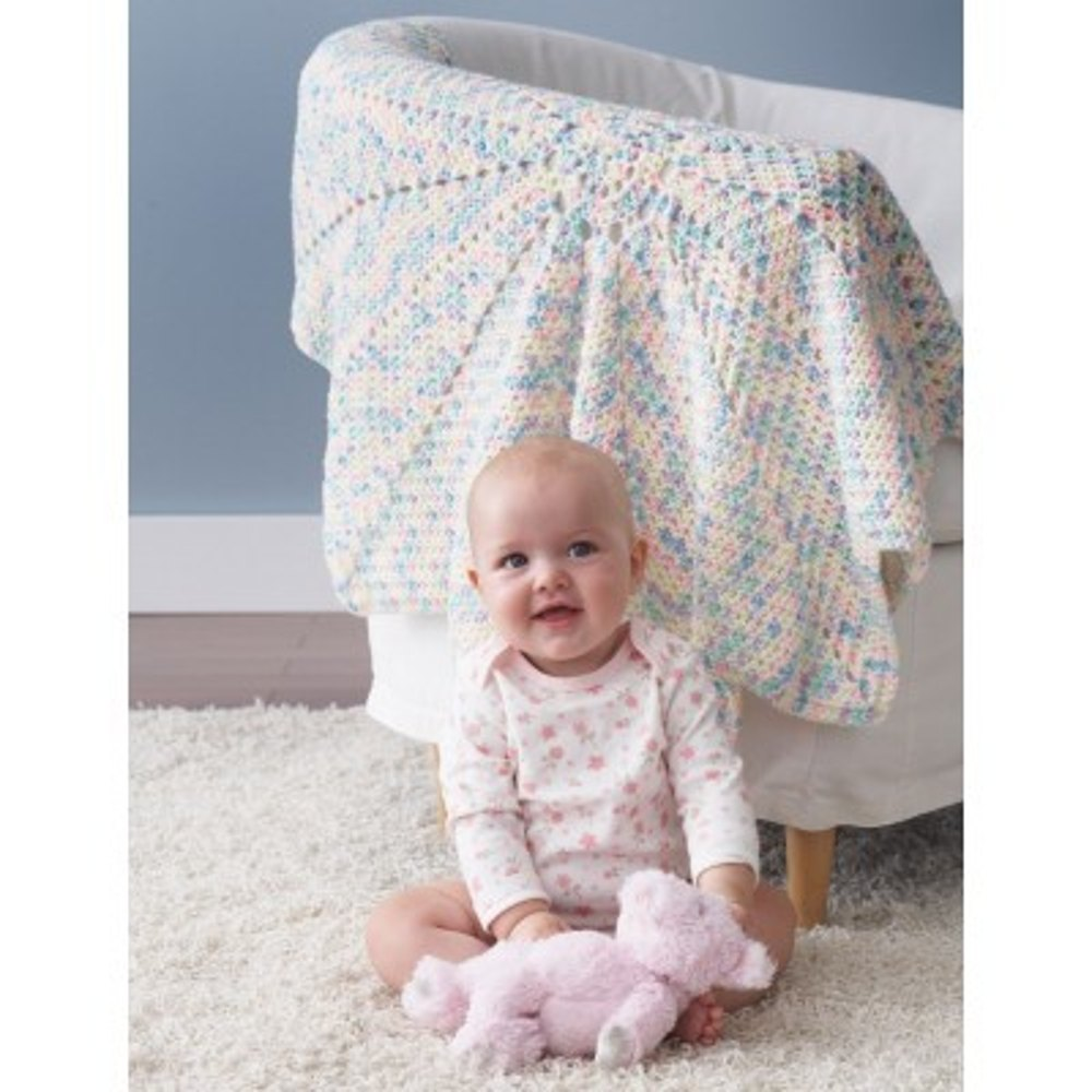From The Middle Baby Blanket In Bernat Super Value Ombre
