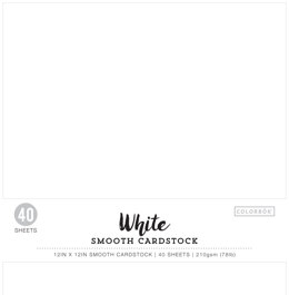"American Crafts Colorbok 78lb Smooth Cardstock 12""X12"" 40/Pkg - White"