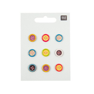Rico Wooden Button Mix With Colourful Edge