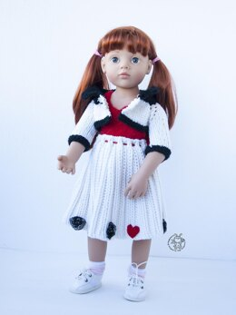Outfit White and red for doll 18 inch