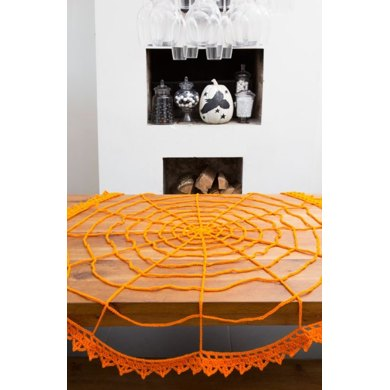 Spider Web Table Topper in Red Heart Super Saver Economy Solids - LW4460