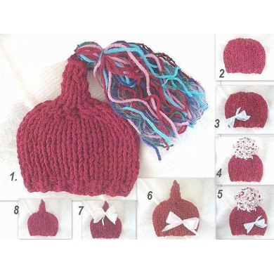 421 KNITTED PIXIE HAT, newborn to age 5