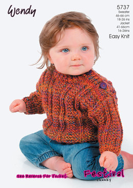 Ribbed Sweater and Jacket in Wendy Festival Chunky-  5737