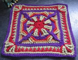 "Purple Throated Hummingbird 12"" Afghan Overlay Block"