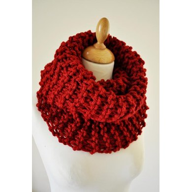 Flaming Red Knit Cowl - One Ball of Yarn