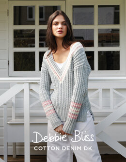 """Matilda Jumper"" - Jumper Knitting Pattern For Women in Debbie Bliss Cotton Denim DK - DBS052"
