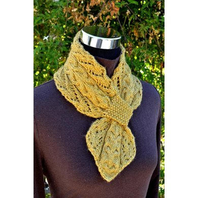 Lace and Cables Scarf ( Keyhole / Ascot / Pull-Through / Vintage / Stay On Scarf Knitting Pattern )
