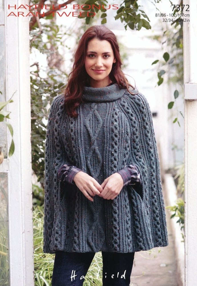 Knitting Patterns For Capes : Cape in Hayfield Bonus Aran Tweed with Wool - 7372