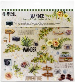 "49 And Market Layered Embellishments 12""X12"" - Wander"
