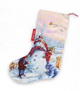 Luca-S Building a Snowman Stocking Counted Cross Stitch Kit - 26cm x 38cm