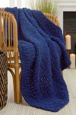 Simple Textured Knit Throw in Red Heart Sweet Home - LM6439 - Downloadable PDF
