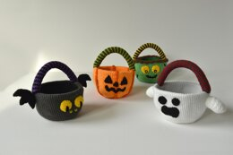 Trick or Treat Candy Baskets Set: Ghost, Bat, Zombie, Jack o'Lantern