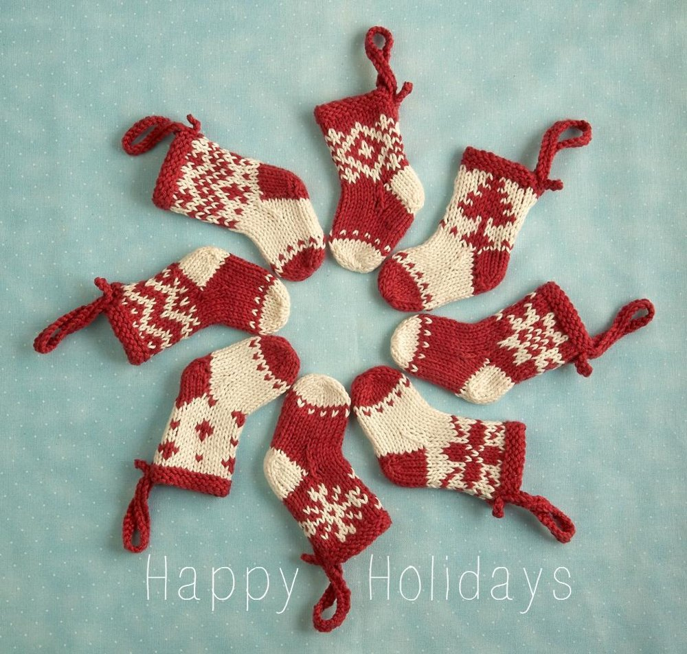 Mini Christmas stocking ornament Knitting pattern by Julie ...