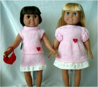 Valentine's Day! - Knitting Patterns fit American Girl and other 18-Inch Dolls