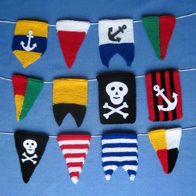 Pirate Bunting Flags - knitted boat pennants