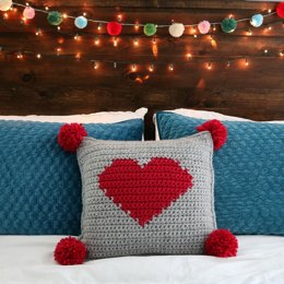 Valentine's Pompom Heart Pillow
