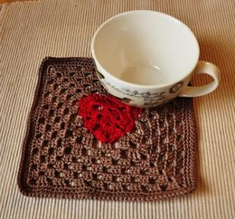 Granny Square Heart Coaster